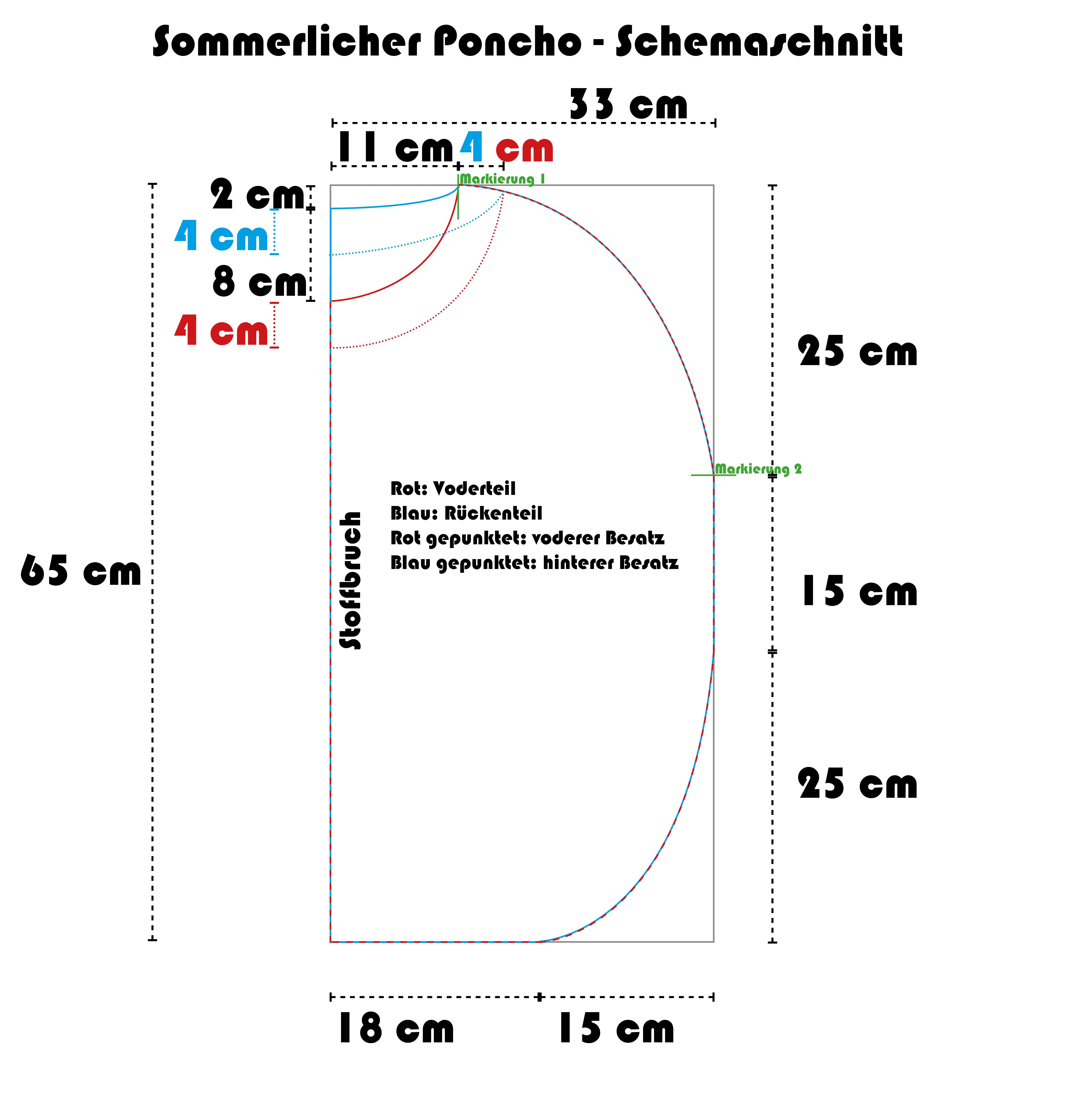 Sommerlicher Poncho zum DIY-Nähen mit kostenloser Schnittanleitung ...